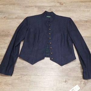 NWT Ralph Lauren Navy Blue Silk/Linen Jacket